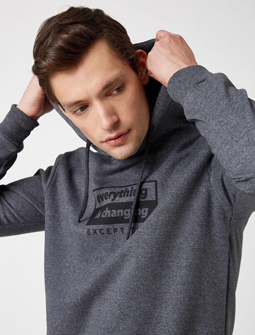 Respect Life | Yaşama Saygı - Kapüşonlu Baskılı Uzun Kollu Sweatshirt