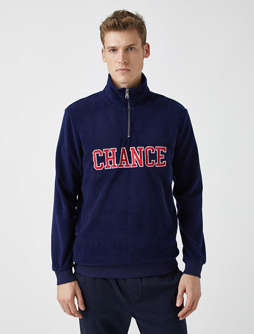 Zipper Detailed Letter Embellished Sweatshirt
