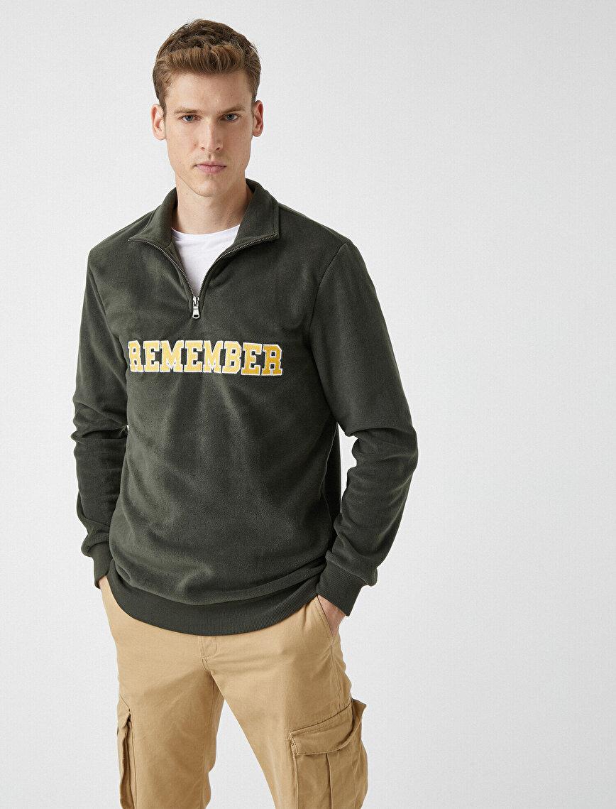 Fermuarlı Yazılı İşlemeli Polar Sweatshirt
