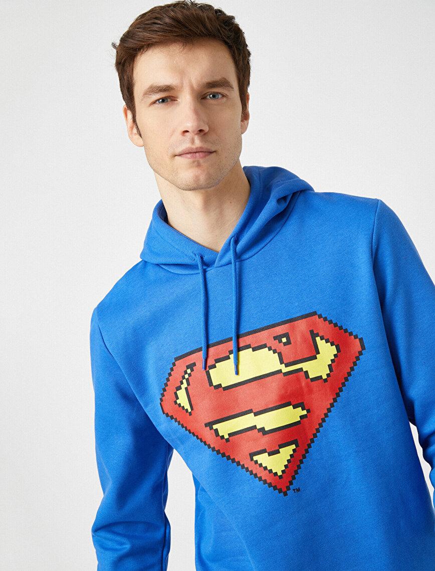 Superman Lisanslı Baskılı Kapüşonlu Uzun Kollu Sweatshirt