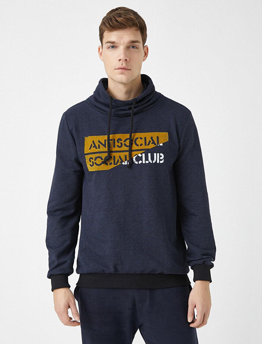 Slogan Letter Printed Hooded Sweatshirt