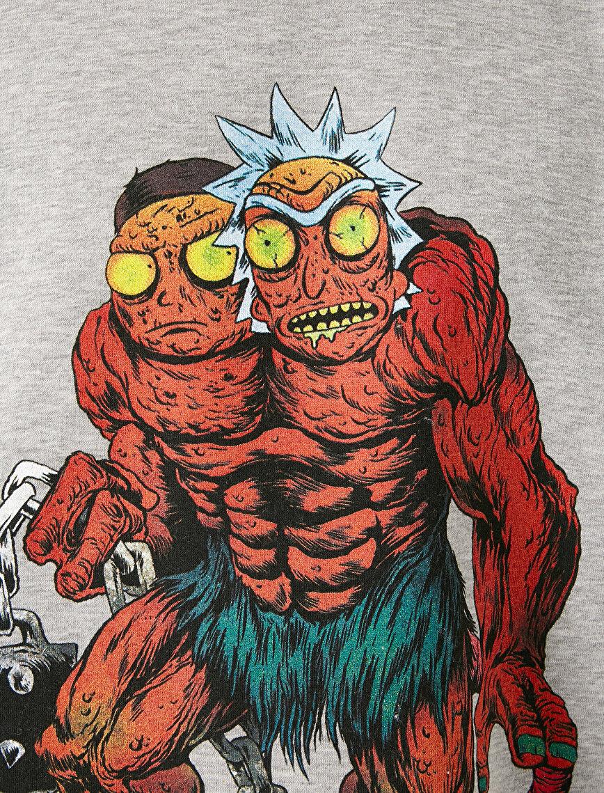Rick and Morty Lisanslı Baskılı Bisiklet Yaka Uzun Kollu Sweatshirt