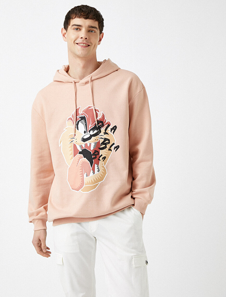Hooded Looney Tunes Licensed Tasmanian Devil Printed Cotton Sweatshirt