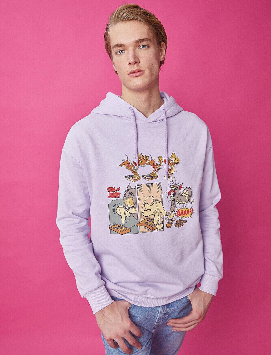 Tom & Jerry Licensed Printed Hooded Cotton Sweatshirt