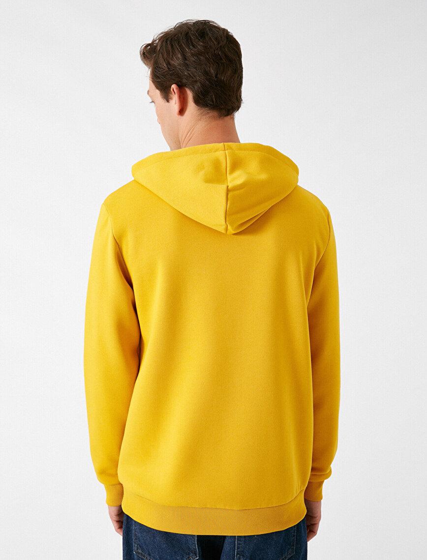 Hooded Long Sleeve Slogan Printed Sweatshirt