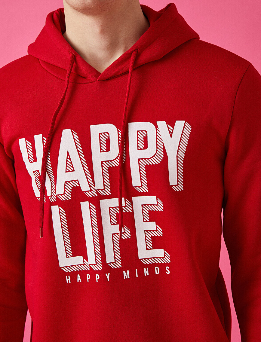 Hooded Letter Printed Long Sleeve Sweatshirt