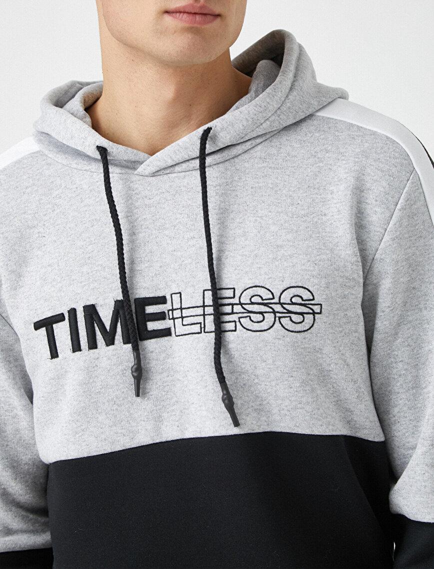 Kapüşonlu Yazılı Baskılı Uzun Kollu Şeritli Sweatshirt