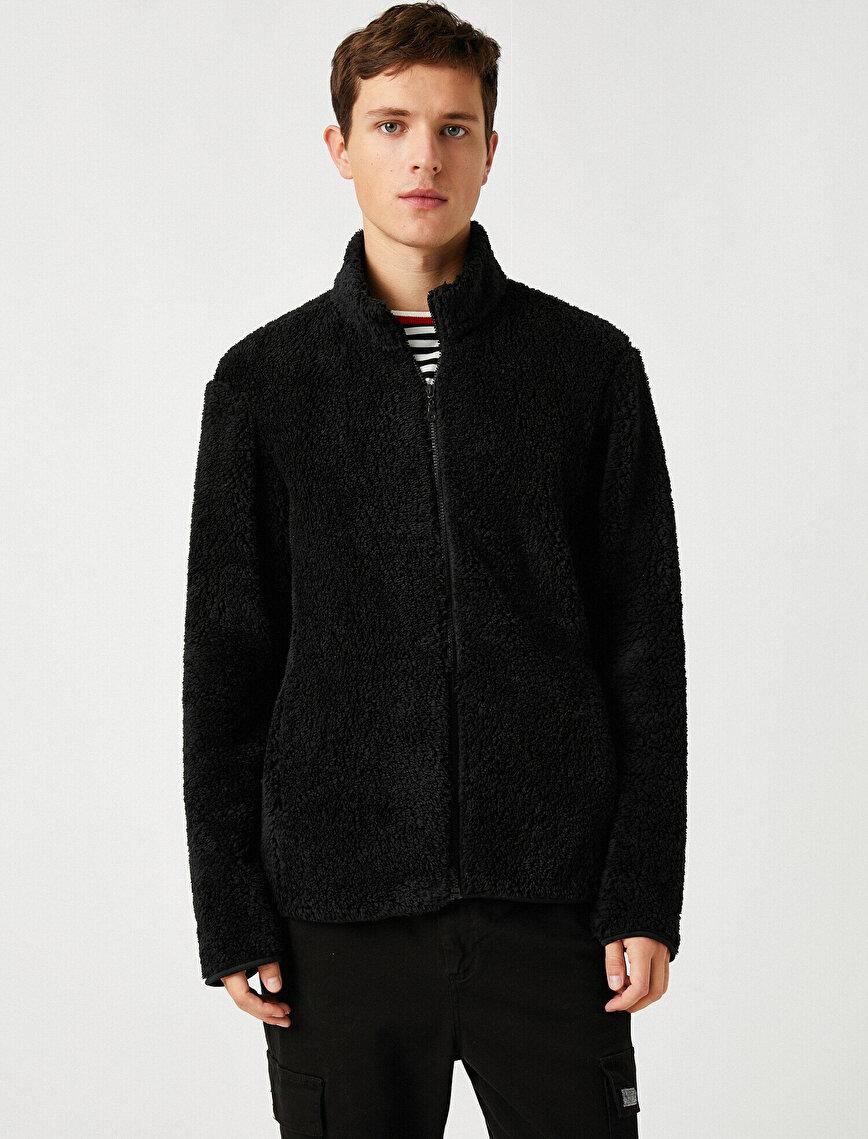 Zipper Detailed Stand Neck Plush Sweatshirt
