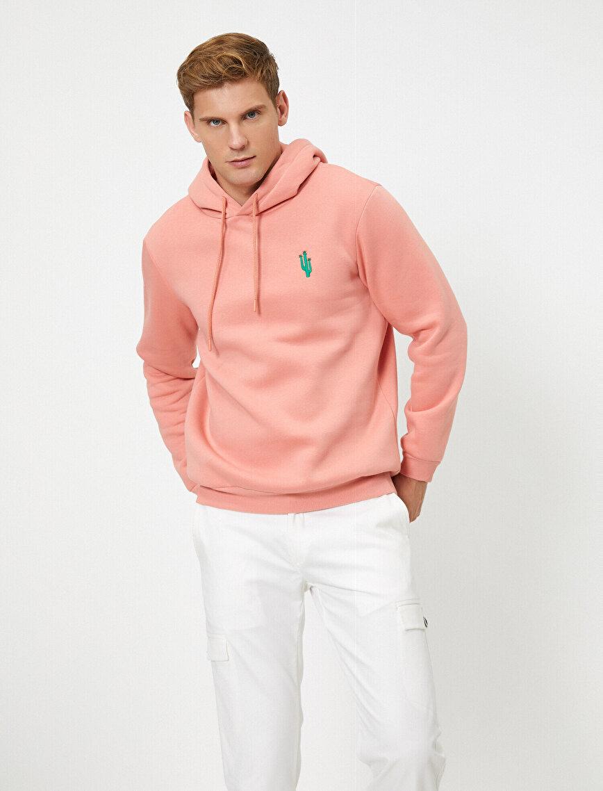 Kapüşonlu İşleme Detaylı Uzun Kollu Sweatshirt