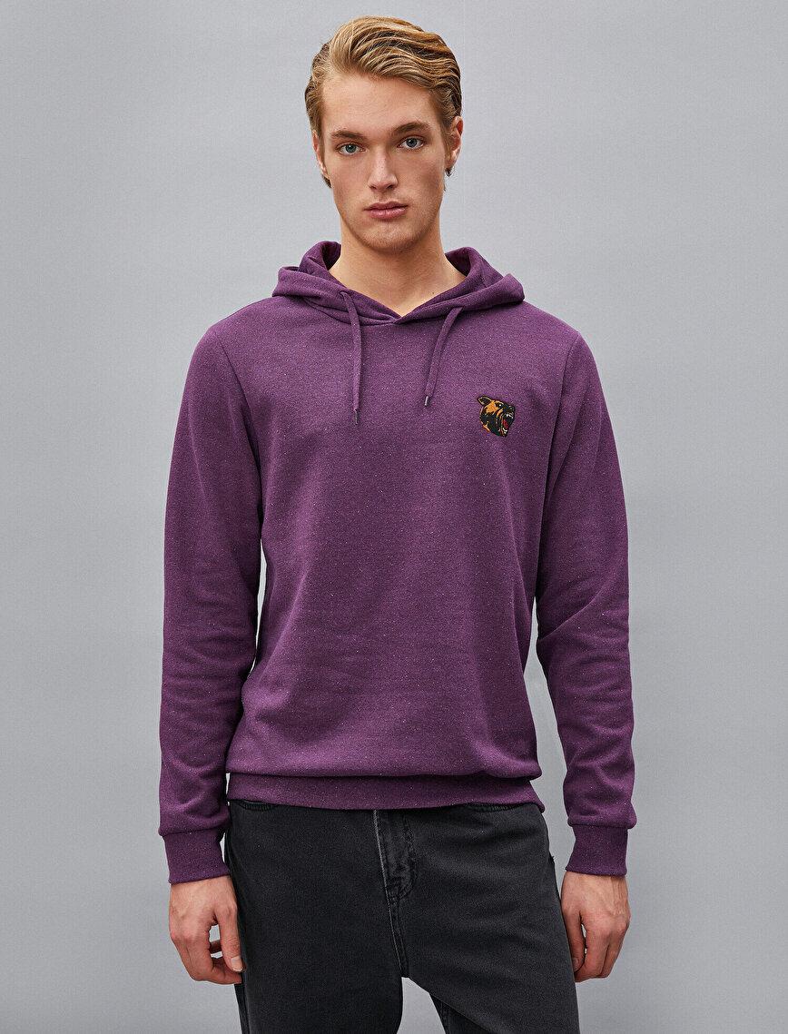 Respect Life | Yaşama Saygı - İşlemeli Kapüşonlu Uzun Kollu Sweatshirt
