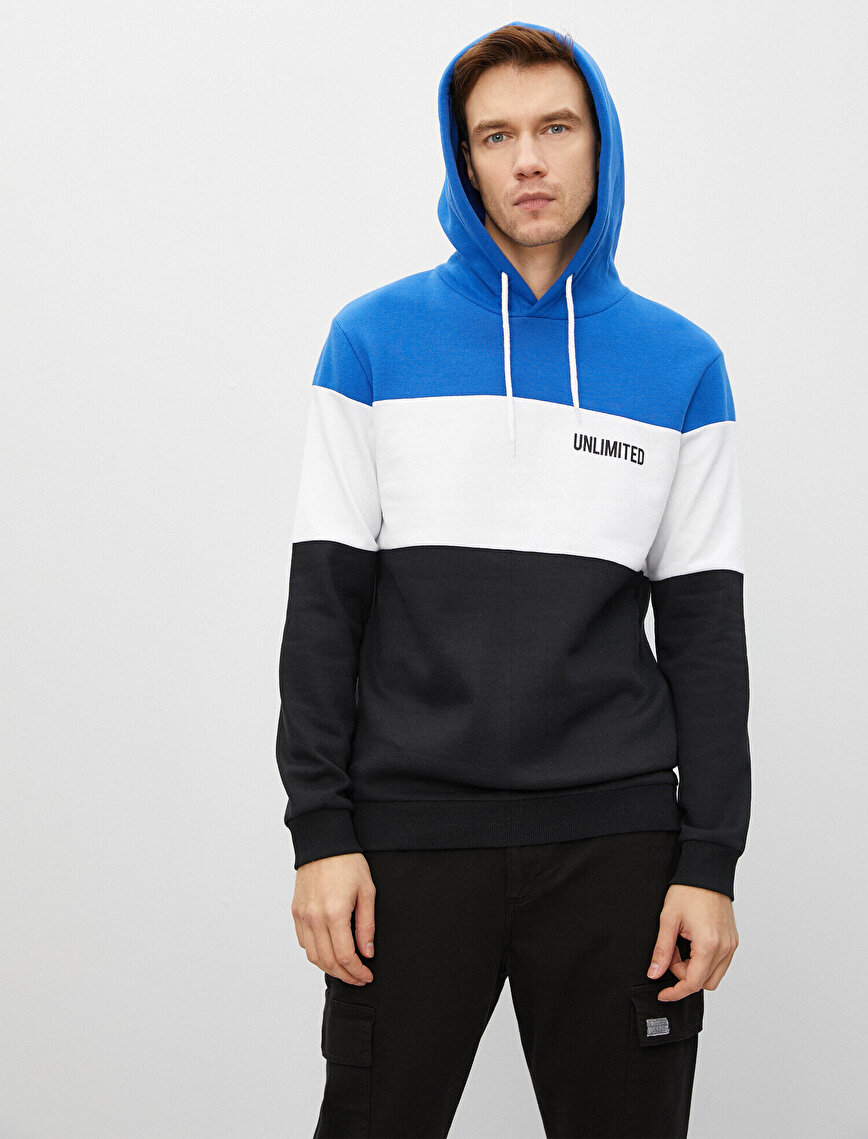 Striped Cotton Letter Printed Hooded Sweatshirt