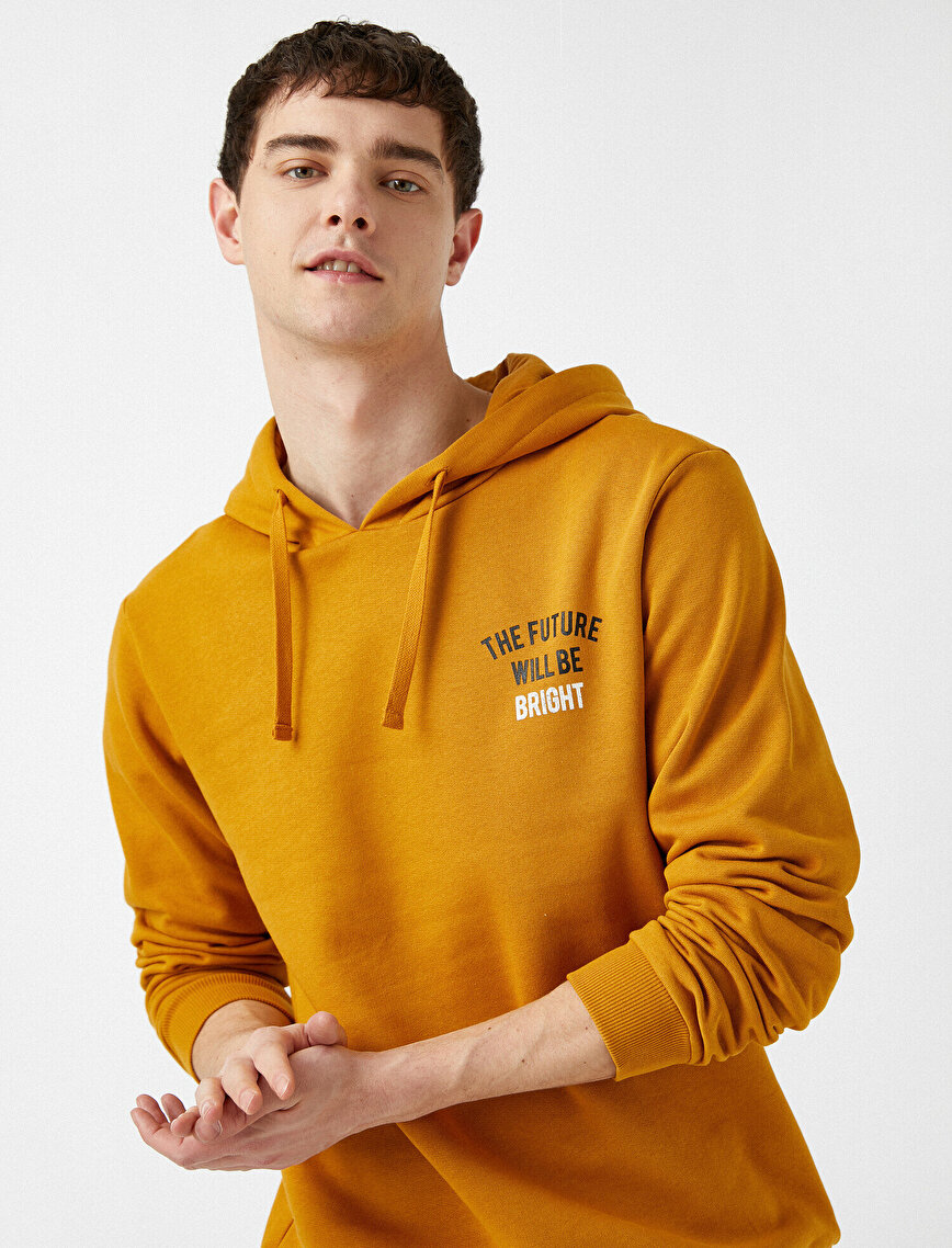 Respect Life | Yaşama Saygı - 100% Organic Cotton Letter Printed Hooded Sweatshirt