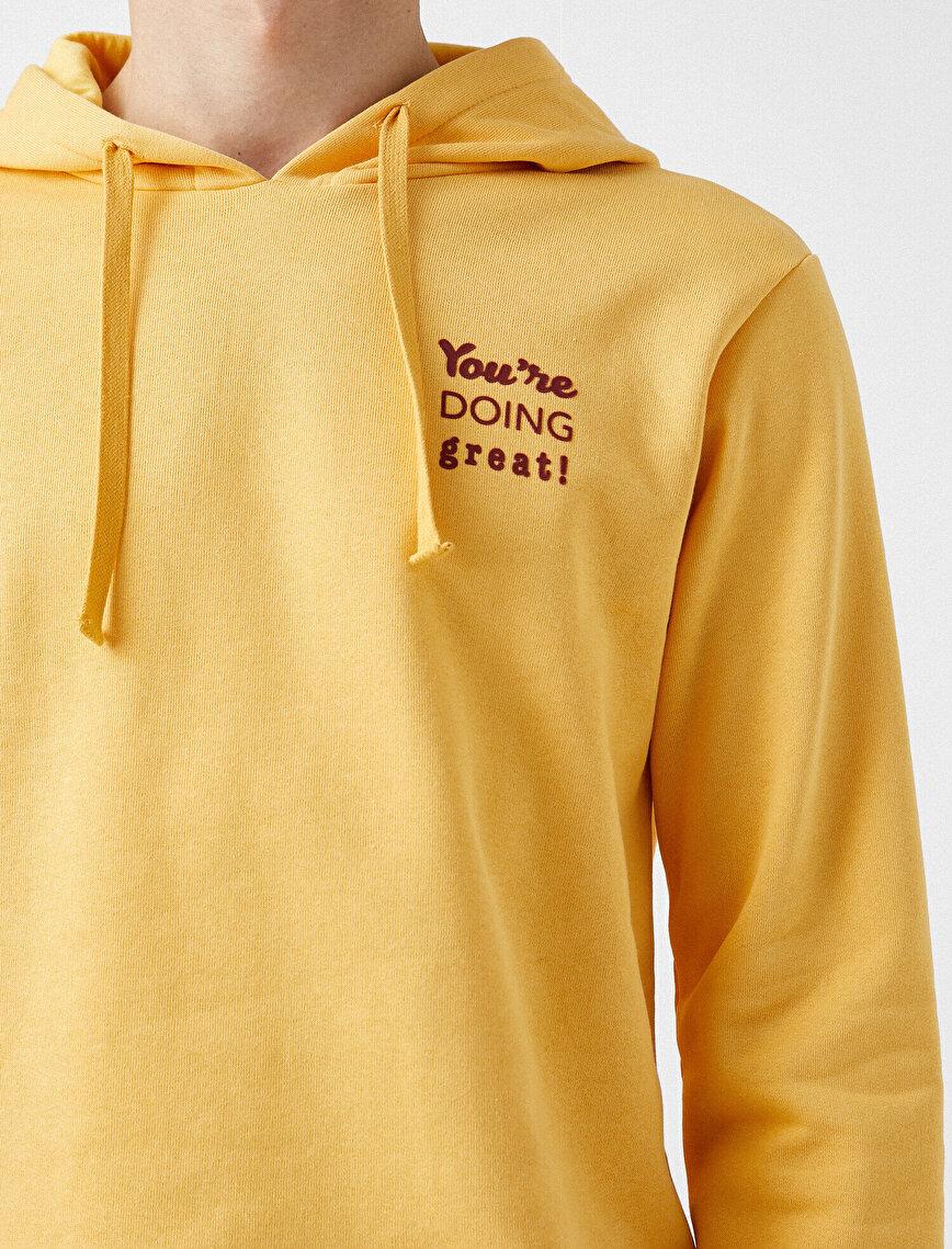 Respect Life | Yaşama Saygı - %100 Organik Pamuk Yazılı Baskılı Kapüşonlu Uzun Kollu Sweatshirt