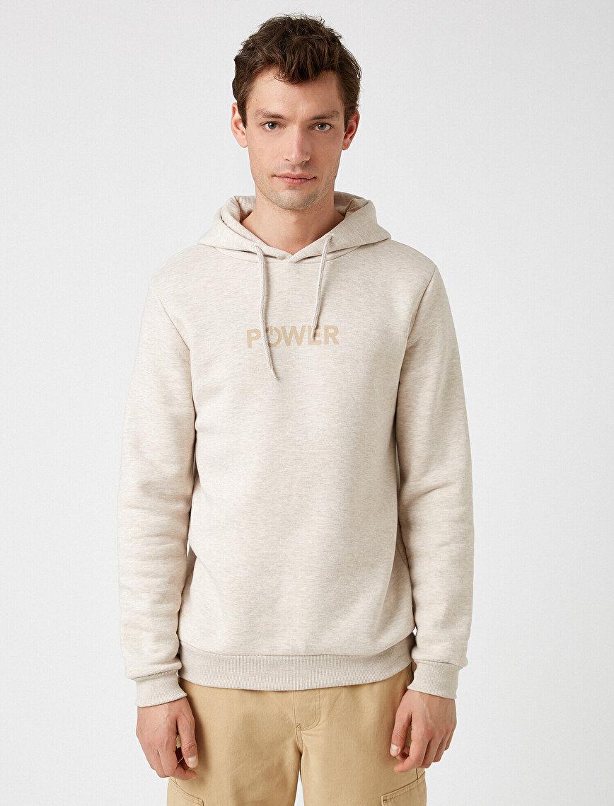 Kapüşonlu Yazılı Baskılı Uzun Kollu Sweatshirt