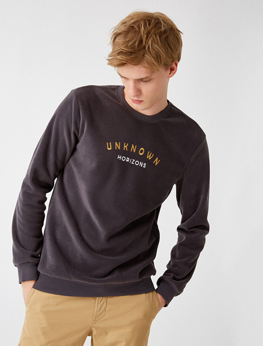 Letter Printed Long Sleeve Crew Neck Sweatshirt