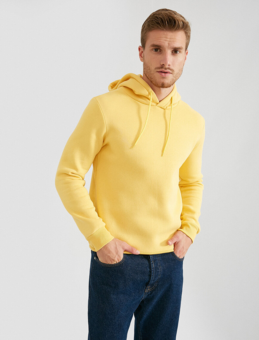 Basic Uzun Kollu Kapüşonlu Pamuklu Sweatshirt