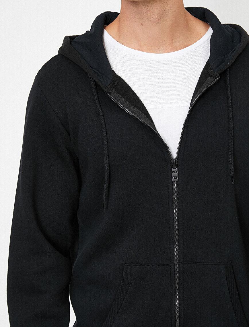 Fermuarlı Kapüşonlu Basic Sweatshirt