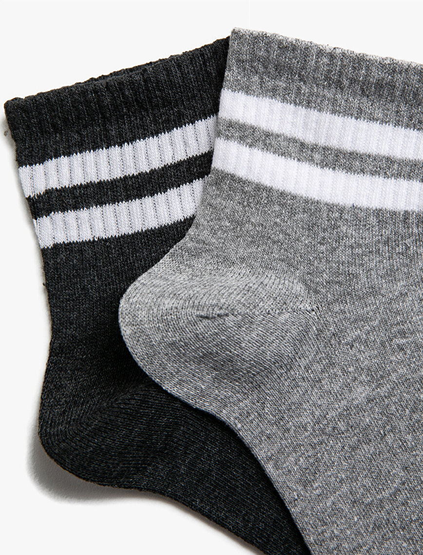 Man 2 Pieces Striped Cotton Socks Set