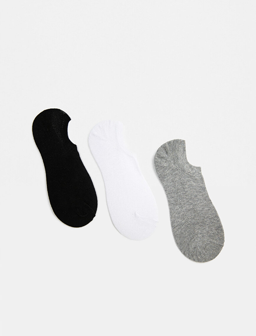 Man Basic 3 Pieces Cotton Invisible Socks Set