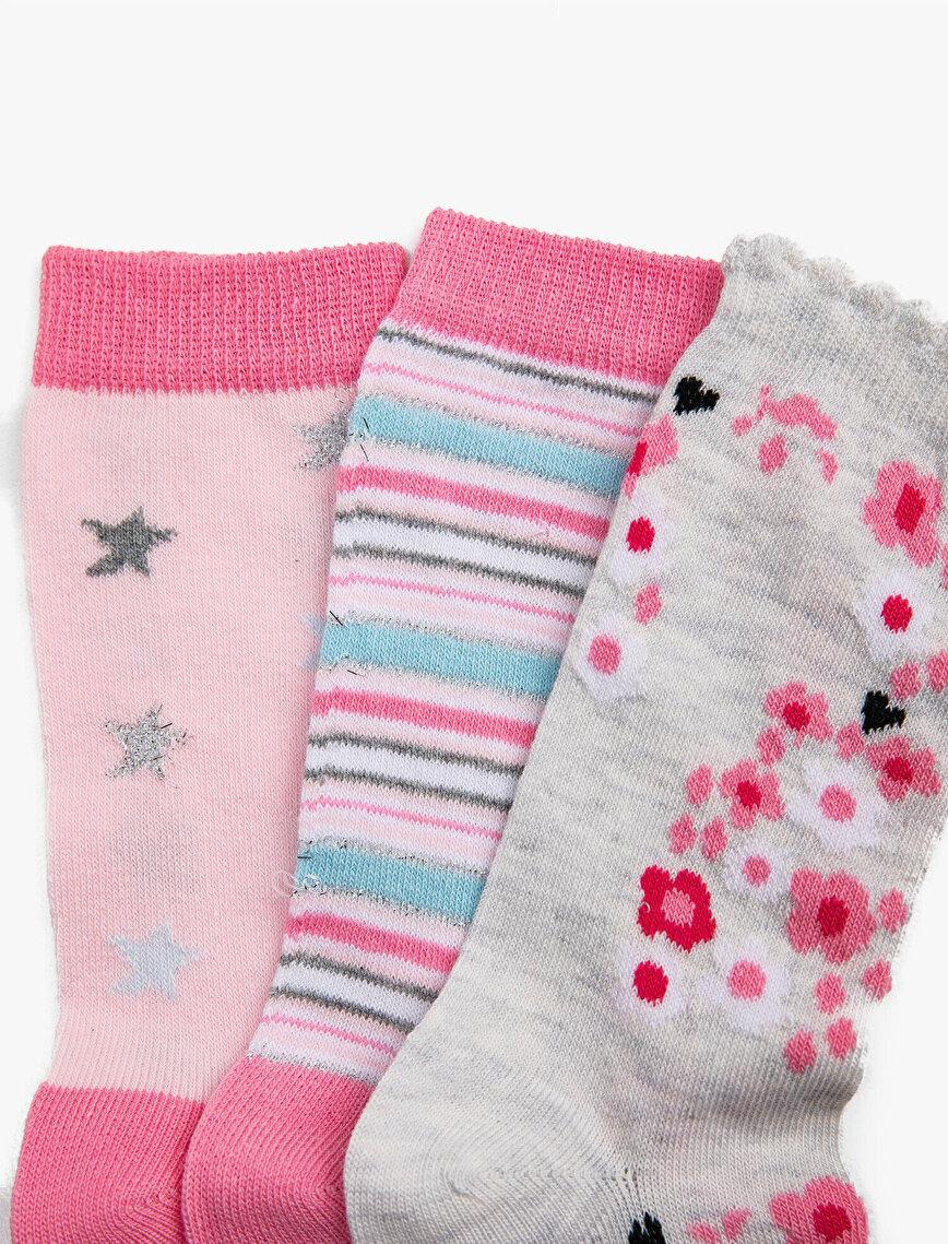 Kız Çocuk 3'lü Pamuklu Desenli Çorap Seti