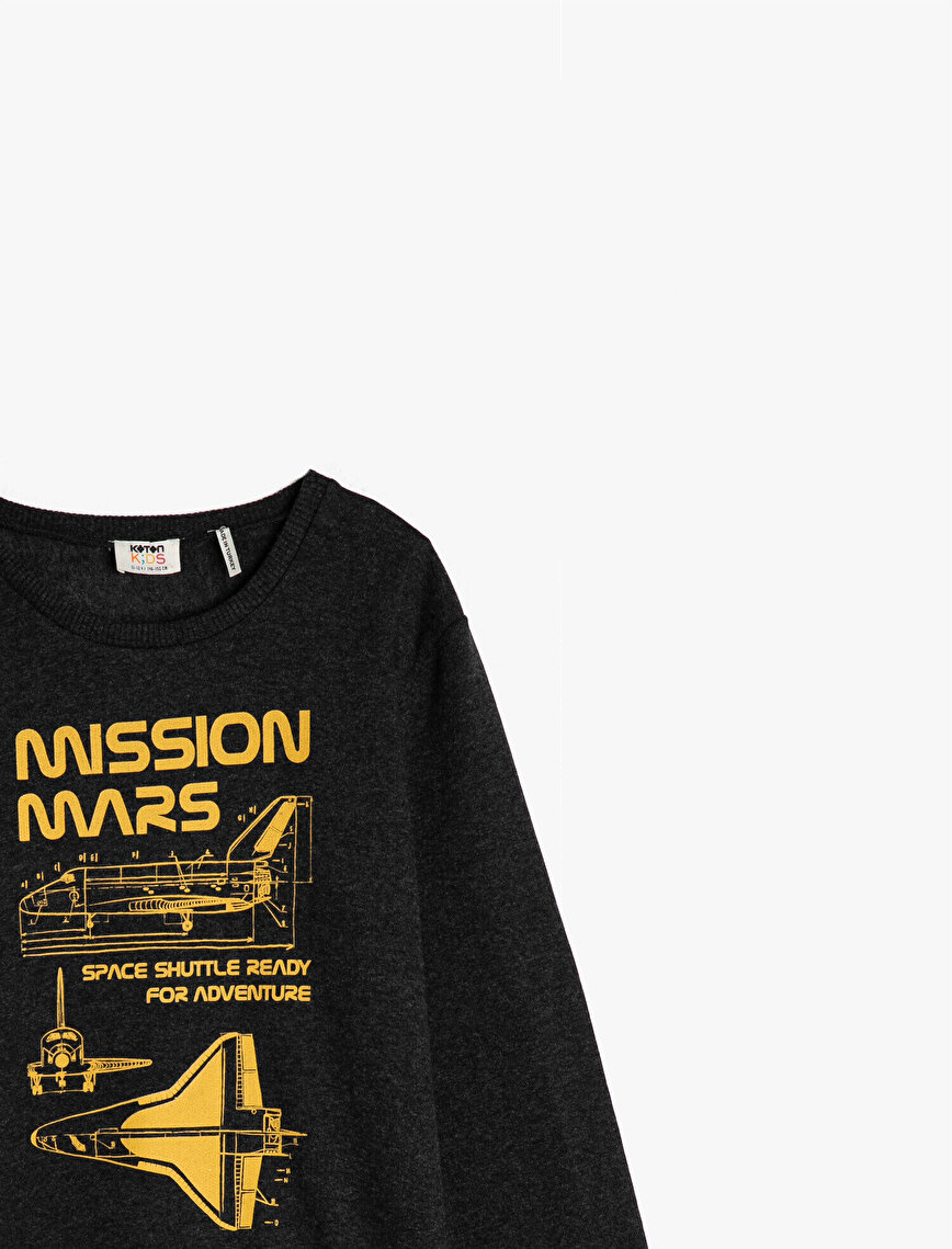Long Sleeve Crew Neck Printed Sweatshirt