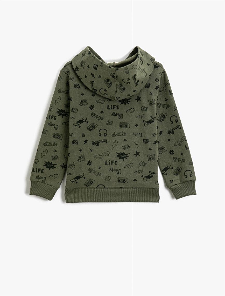 Hooded Printed Cotton Sweatshirt