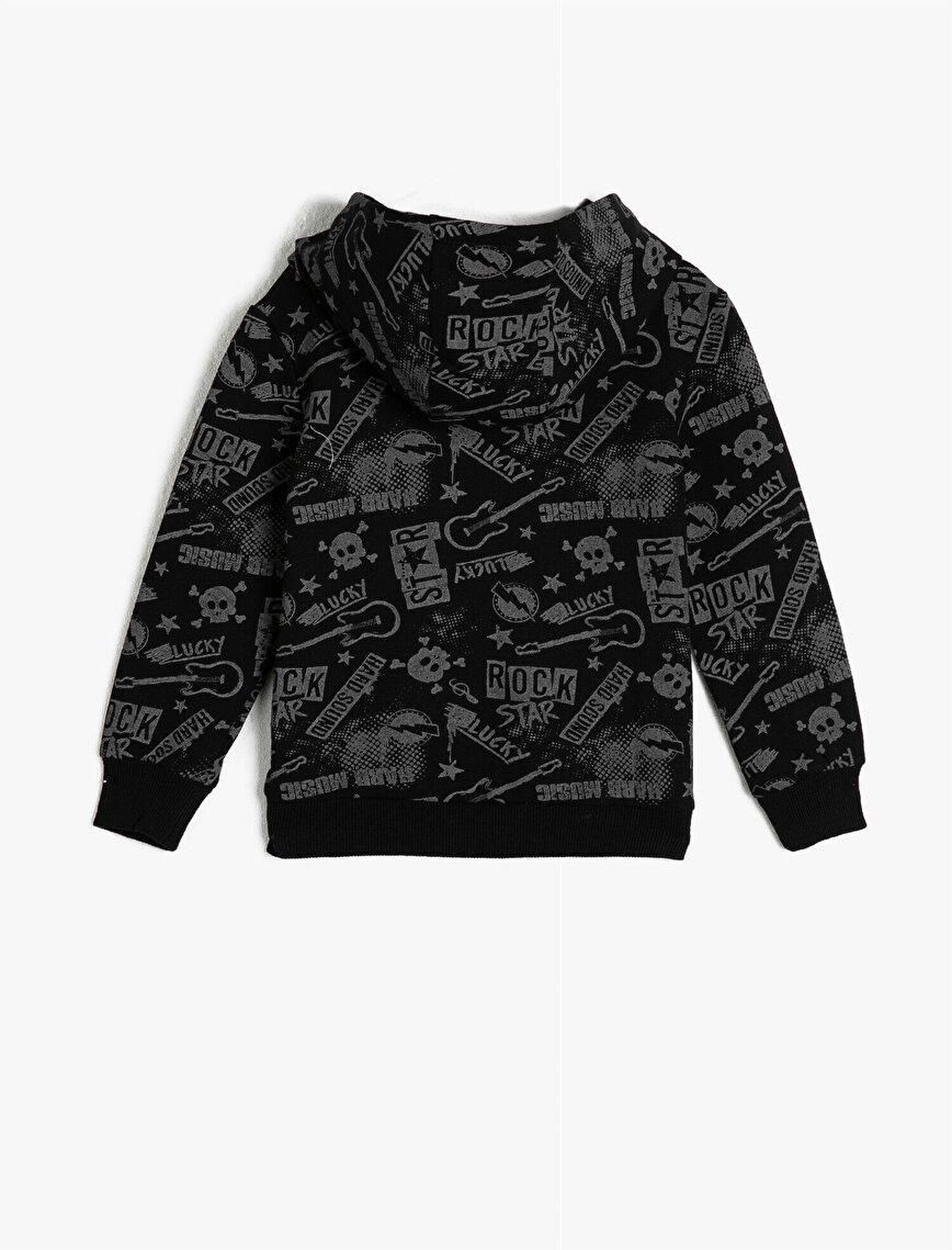 Pamuklu Uzun Kollu Kapüşonlu Baskılı Sweatshirt