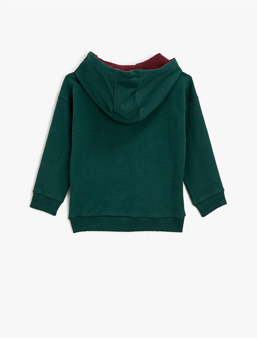 Pamuklu Yazılı Baskılı Kapüşonlu Sweatshirt