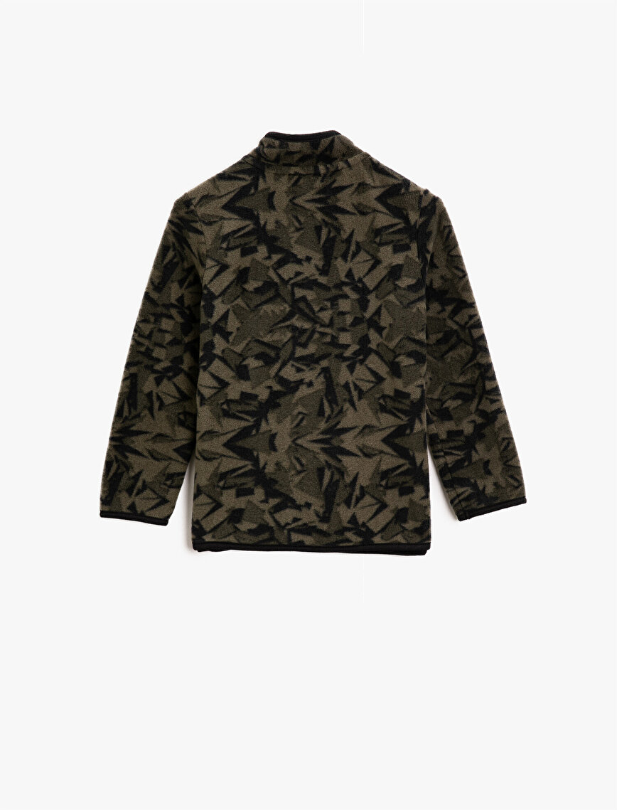 Stand Neck Long Sleeve Camouflage Patterned Sweatshirt