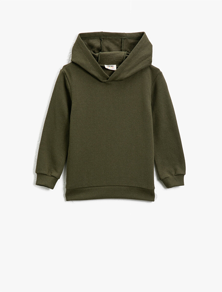 Hooded Basic Long Sleeve Sweatshirt