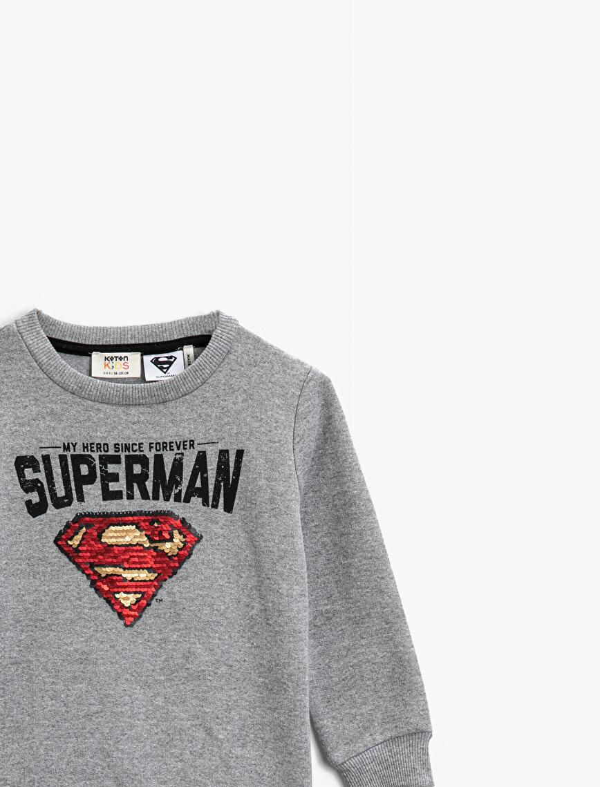 Superman Lisanslı Pullu Bisiklet Yaka Uzun Kollu Sweatshirt
