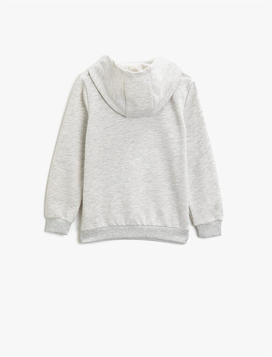 Kapüşonlu Baskılı Uzun Kollu Sweatshirt