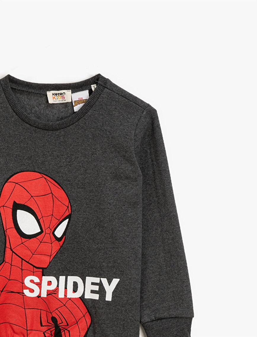 Spiderman Lisanslı Baskılı Bisiklet Yaka Uzun Kollu Sweatshirt