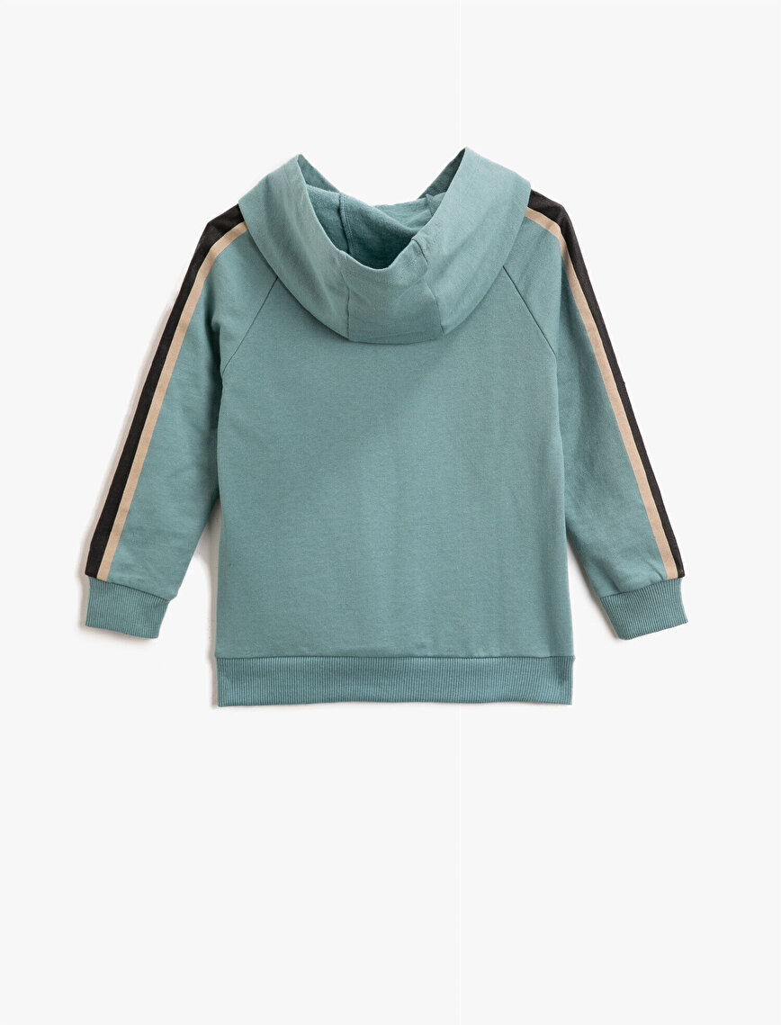 Striped Cotton Hooded Letter Printed Sweatshirt