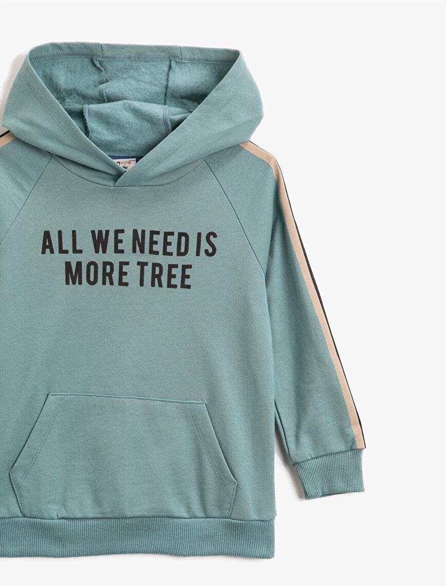 Respect Life | Yaşama Saygı -  Organik Pamuklu Şeritli Kapüşonlu Yazılı Baskılı Sweatshirt
