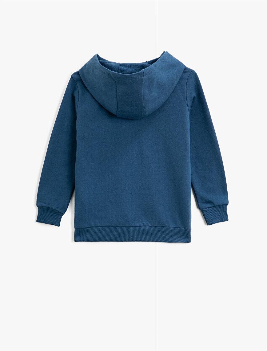 Hooded Cotton Letter Printed Long Sleeve Sweatshirt