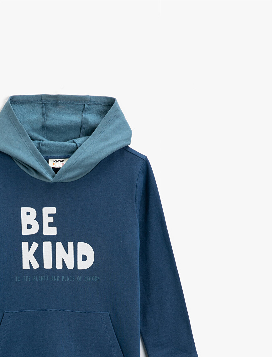 Respect Life | Yaşama Saygı - Organic Cotton Letter Printed Hooded Long Sleeve Sweatshirt