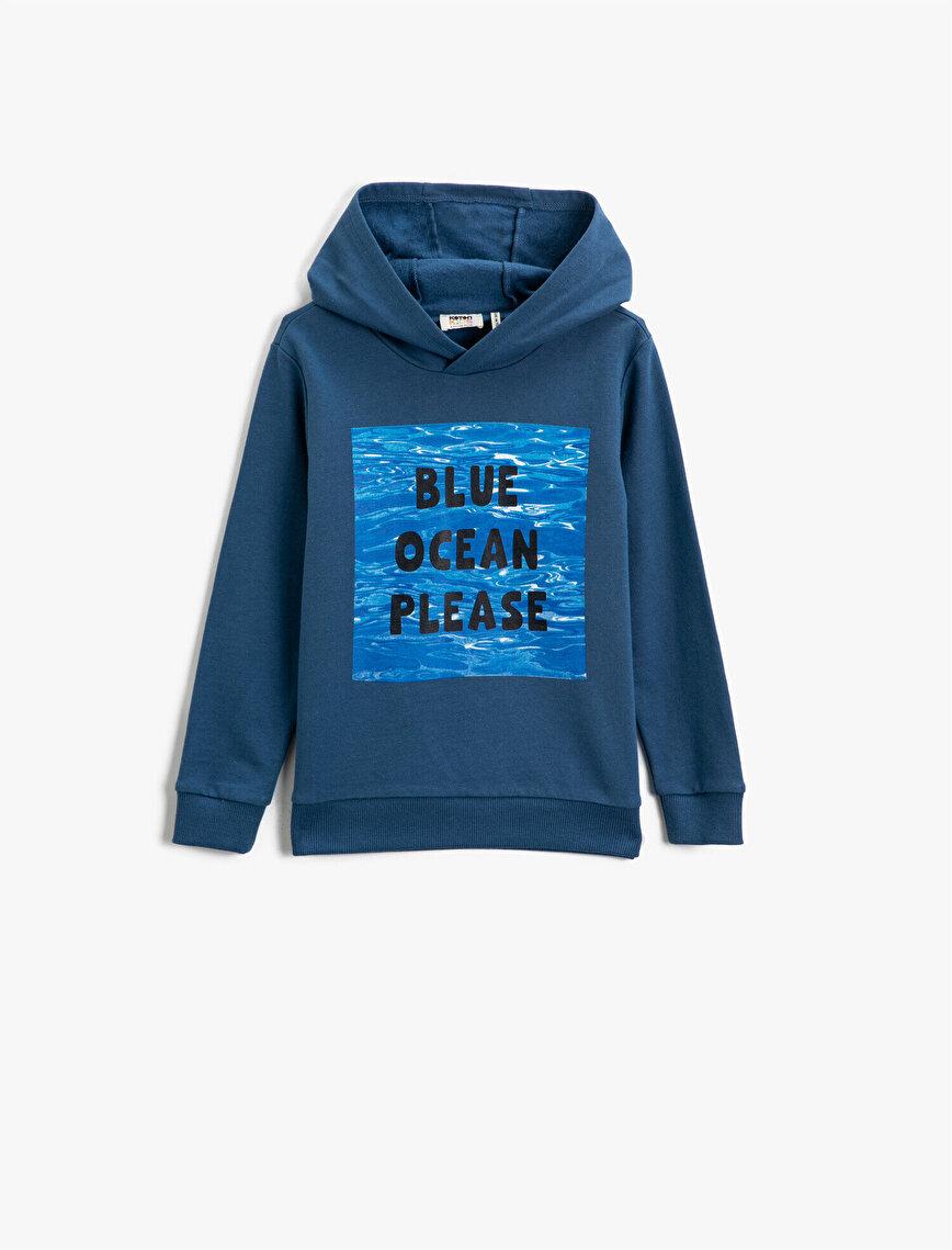 Respect Life | Yaşama Saygı - Organik Pamuklu Kapüşonlu Yazılı Baskılı Sweatshirt