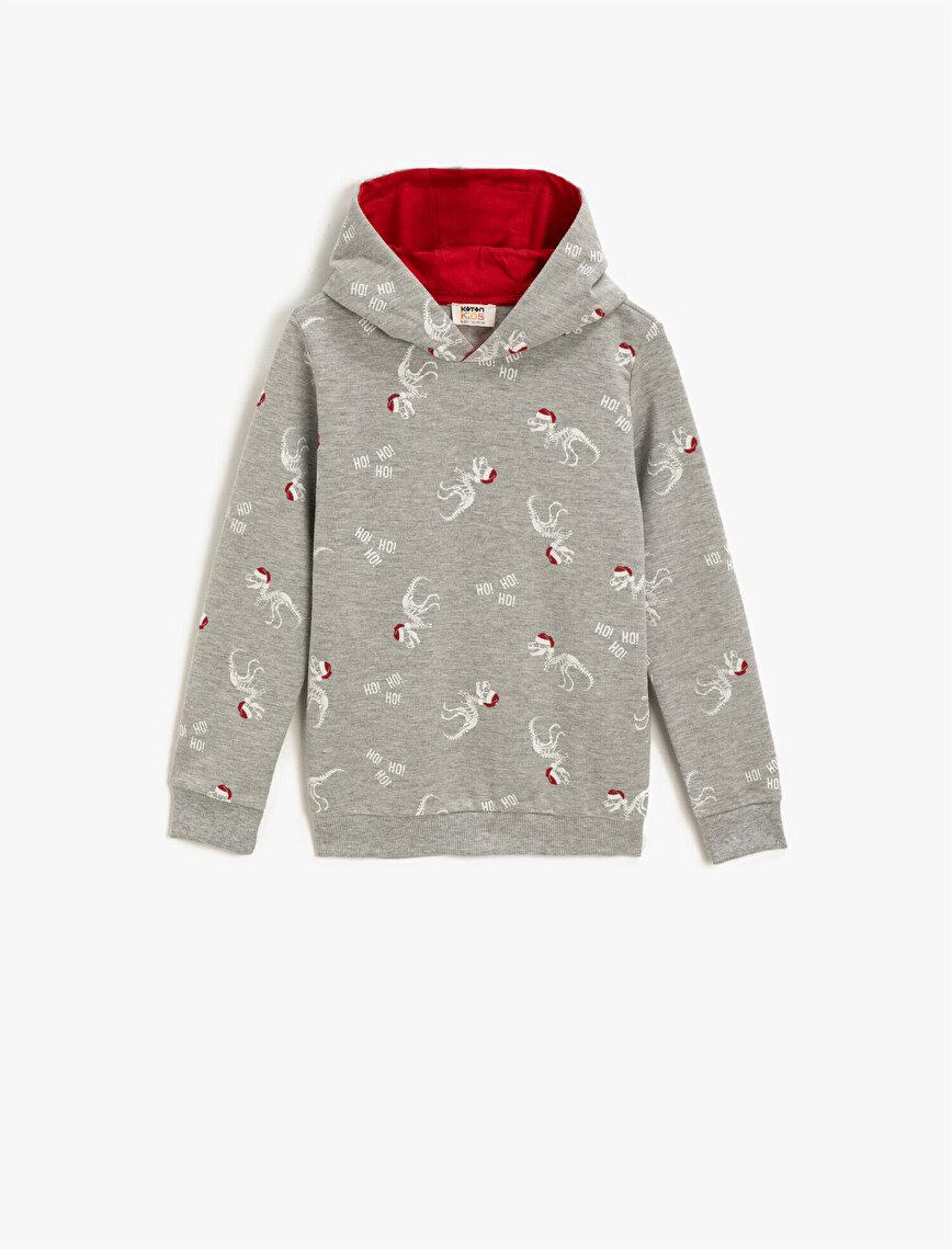 Cotton Hooded Printed Long Sleeve Sweatshirt