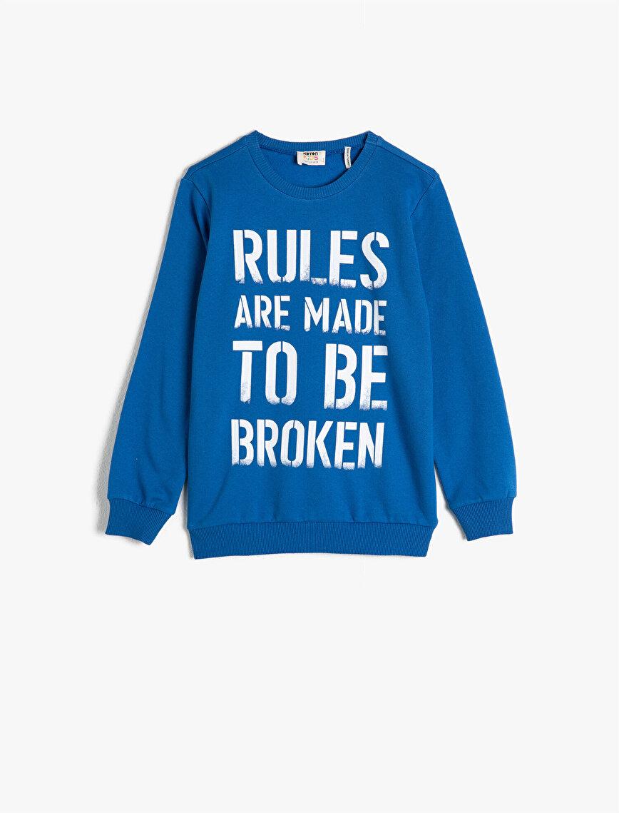 Pamuklu Uzun Kollu Bisiklet Yaka Yazılı Baskılı Sweatshirt