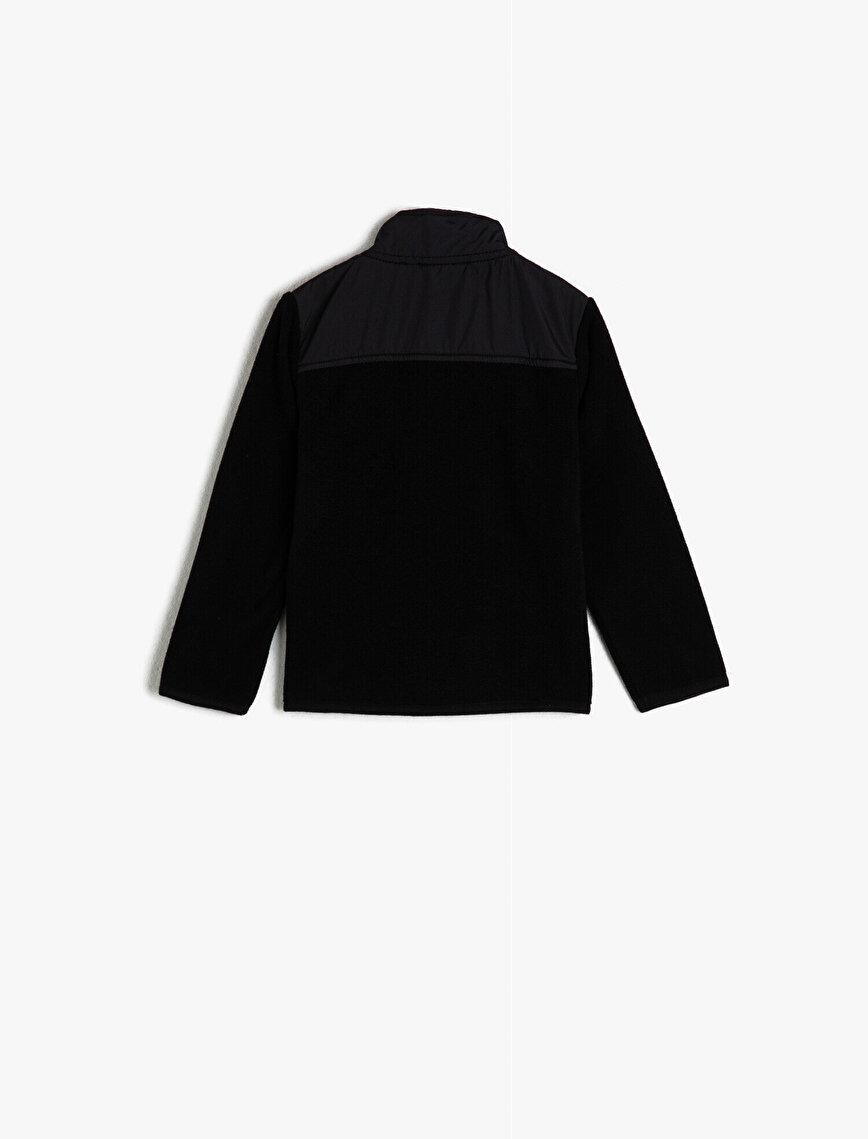 High Neck Zipper Detailed Sweatshirt