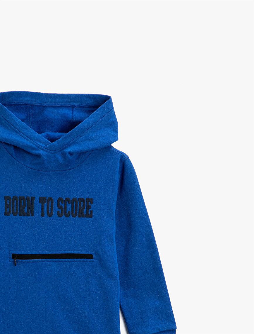 Hooded Slogan Letter Printed Long Sleeve Sweatshirt