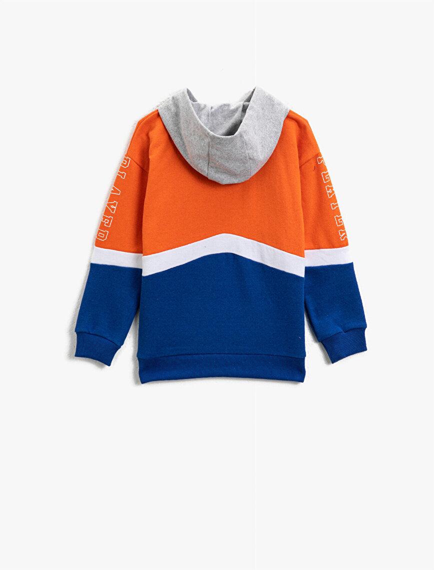 Color Block Letter Printed Long Sleeve Sweatshirt