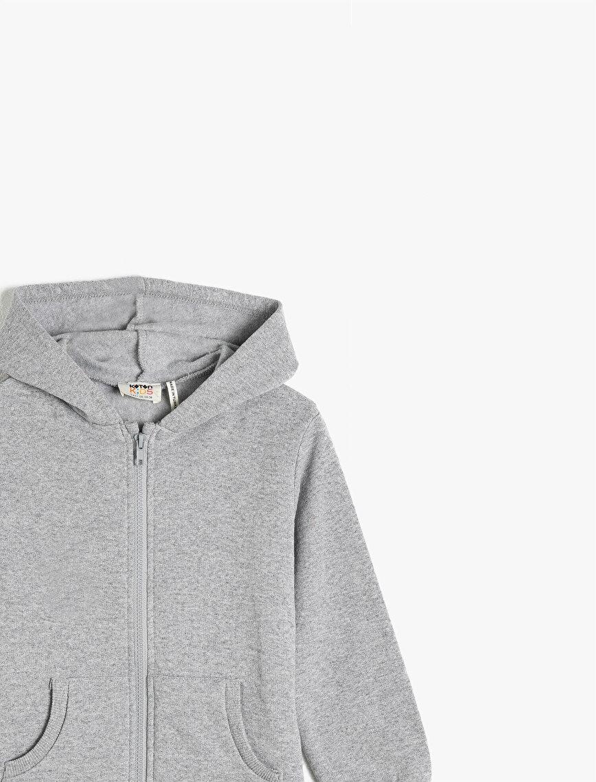 Hooded Zipper Detailed Basic Sweatshirt