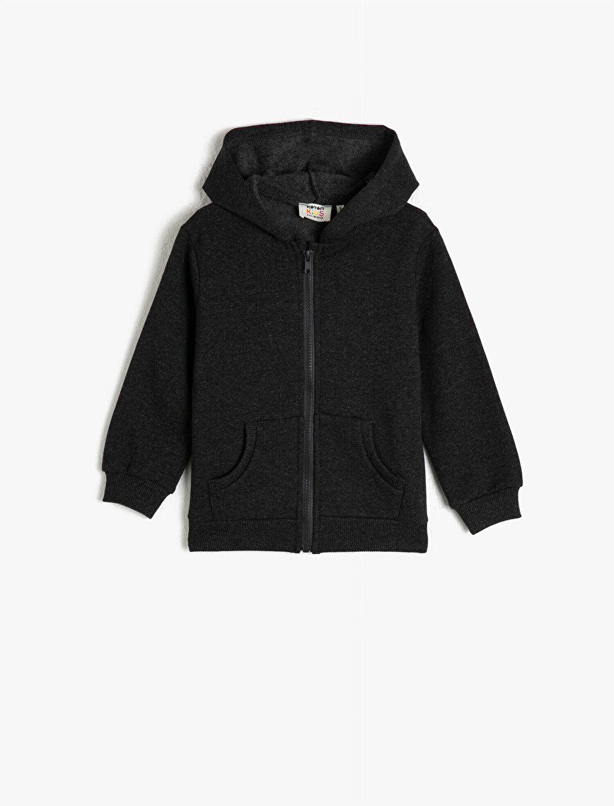 Hooded Zipper Detailed Basic Sweatshirt