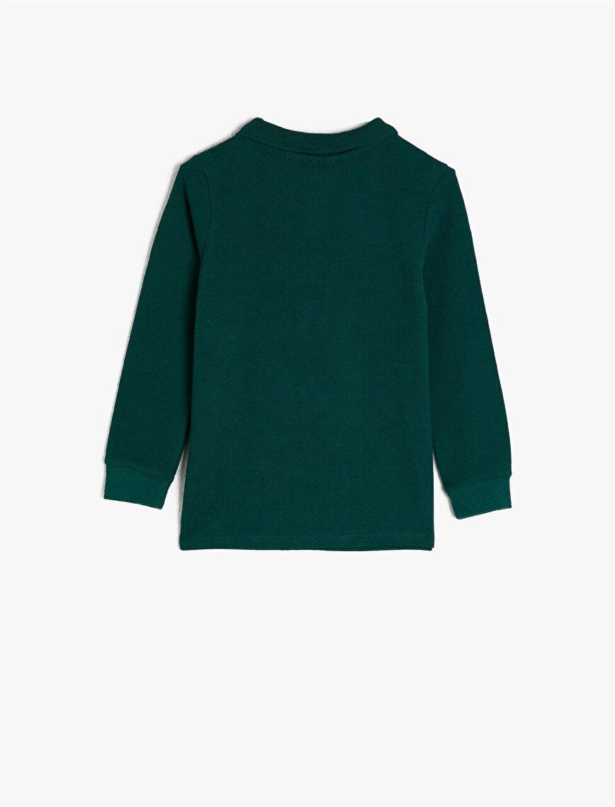 100% Cotton Long Sleeve Polo Neck T-Shirt