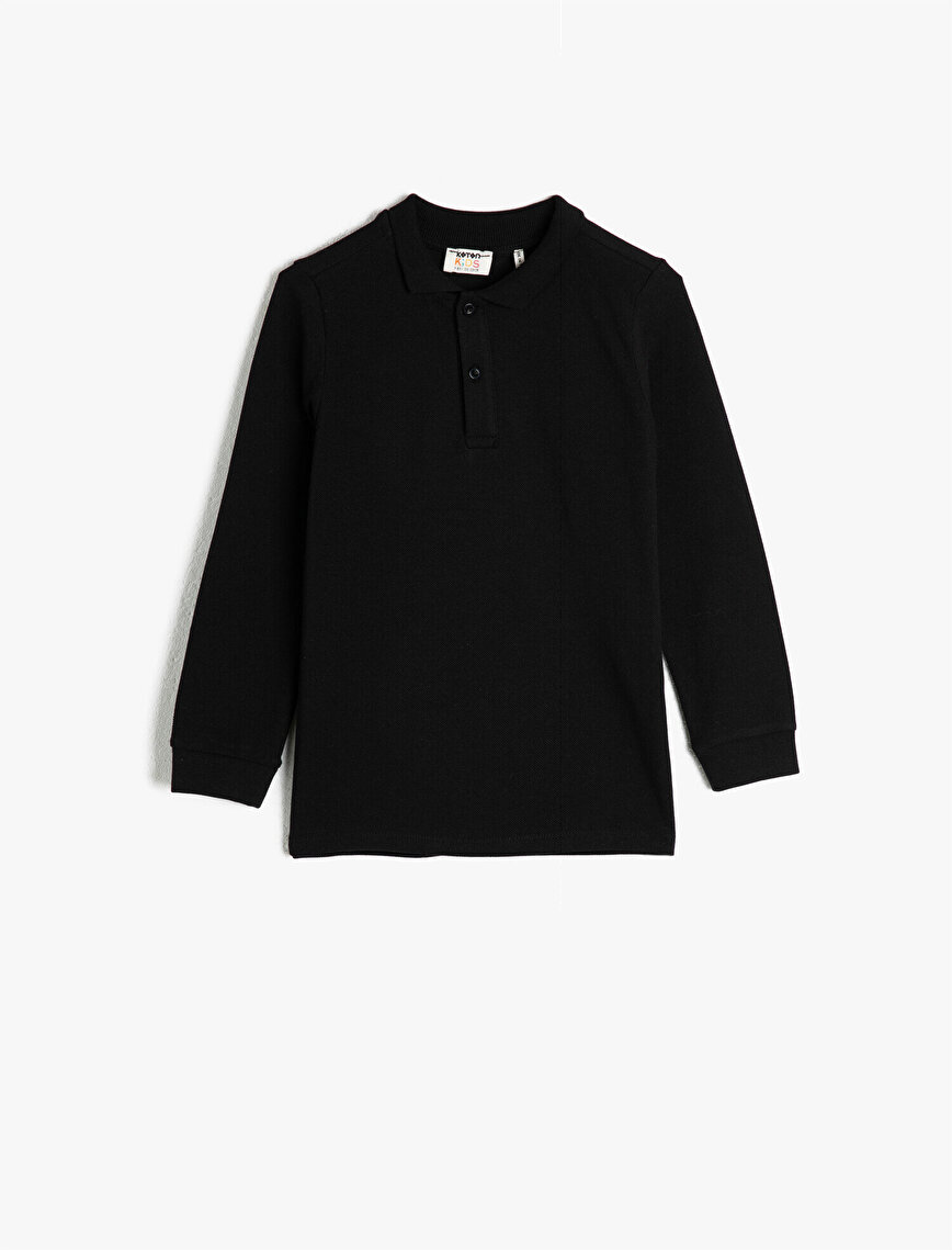 %100 Pamuk Uzun Kollu Polo Yaka Tişört