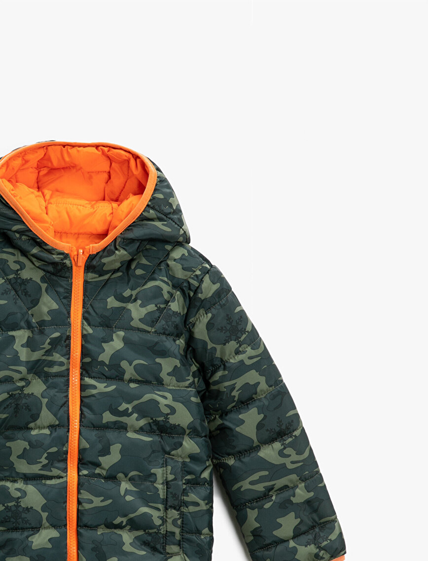 Reciprocal Hooded Camuflage Patterned Zipper Coat