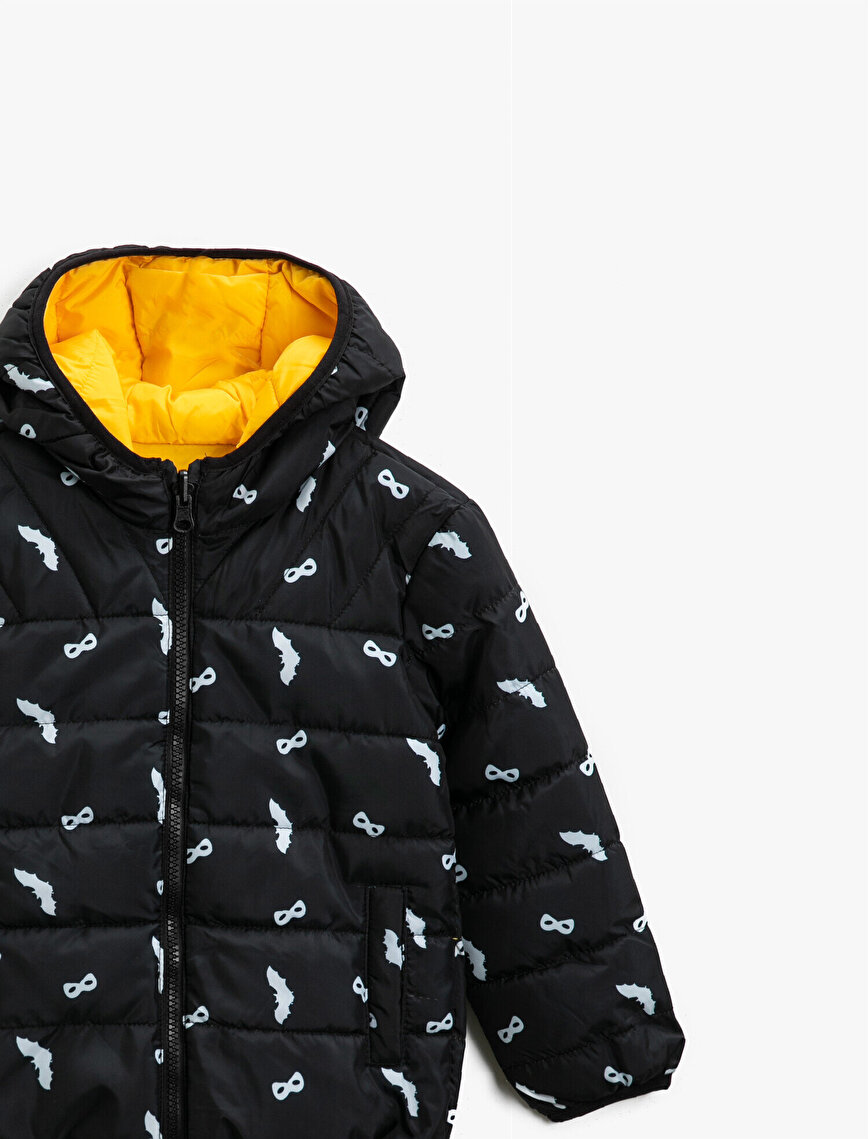 Hooded Reciprocal Zipper Puffer Coat