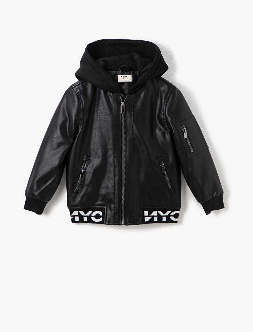 Letter Printed Hooded Zipper Detailed Pocket Detailed  Faux Leather Jacket